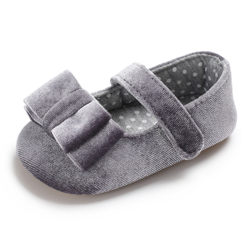 Free Shipping 2018 New Birthday Party Baby Flat shoes Velvet First Walkers Bowknot Toddler Baby girl Shoes Fashion 0-18 months