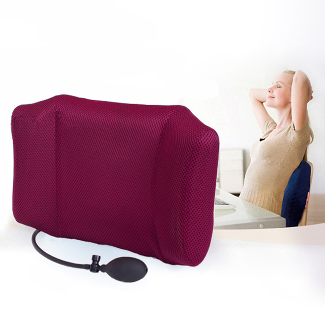 Lower Back Support For Chair Distressed Leather Chairs Uk 1pcs Portable Inflatable Lumbar Cushion Pillow Office And Car Sciatic Nerve Pain Relief