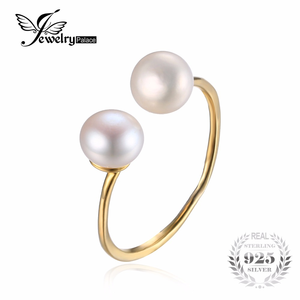 jewelrypalace classic pearl wedding engagement ring gold color solid 925 sterling silver fashion jewelry for women jewelry - Discount Wedding Rings Women