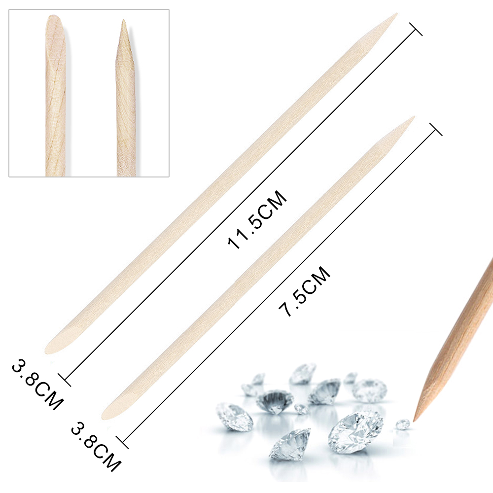 ZINXIN Double Sided Trimmer Head Sharp Bevel Orange Wood Sticks Pusher Cuticle Remover For Nail Art Care Manicure Material Tools