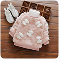 Warm Winter Children Kids Baby Infant Girls Thicken Velvet Faux Fur Bow Pullover Sweater Tops