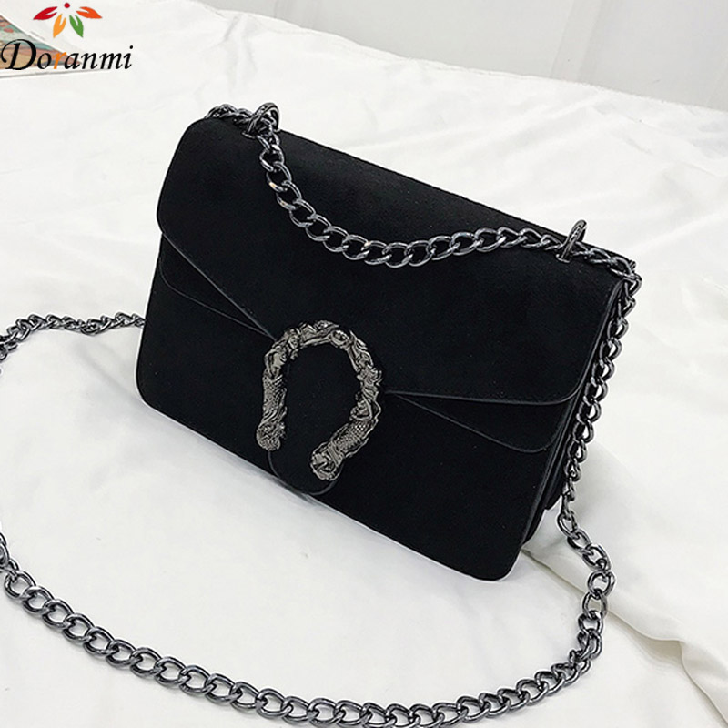 DORANMI Classic Suede Women Shoulder Bag 2019 Chic Autumn Flap Bags  Crossbody Bag Messenger Chain Strap Bolsos Mujer DJB778-in Shoulder Bags from Luggage & Bags