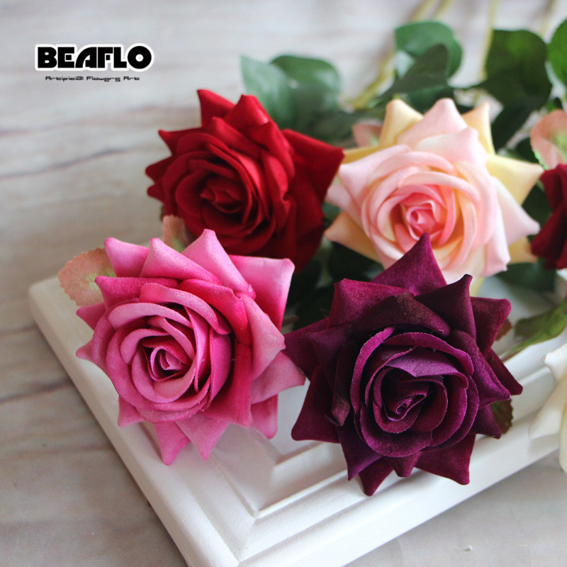 1PC French Romantic Artificial Rose Flower DIY Velvet Silk Flower for Party Home Wedding Holiday Decoration fake rose flowers