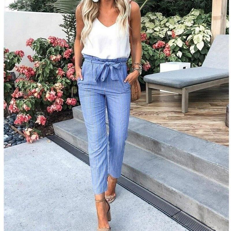 Women Fashion Striped Pant Ladies Cotton BlendOL Zipper Skinny Office Summer Casual High Waist Jeggings Pencil Pant Trouser Blue