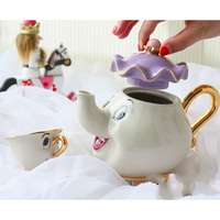 Hot sale Cartoon Beauty And The Beast Tea Set Mrs Potts Teapot Chip Cup Sugar Bowl Pot Set Coffee Kettle Birthday Xmas Gift