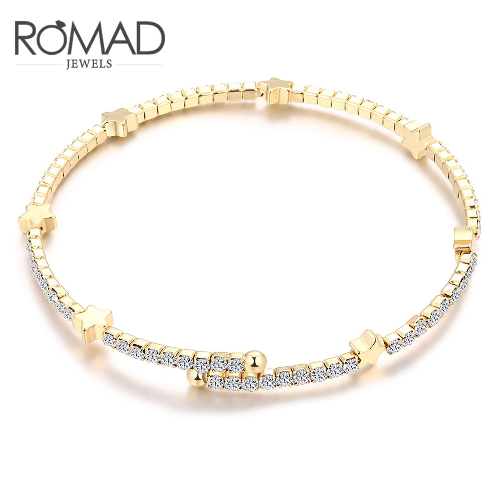 ROXI ROMAD Brand Gold Color Genuine Austrian Crystal five-pointed Star Bangles Bracelets For Women Elegant Wedding Jewelry Gift