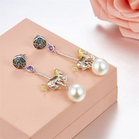 Carousel Drop Earring Inlay CZ Crystal with Freshwater Pearl Jewelry For Women Fun Park Merry go round whirligig Brincos Gift