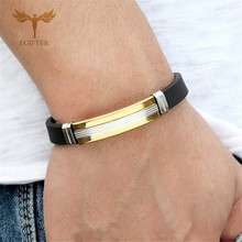 New Punk Black Silicone Bracelets Men Fashion Cool Gold Color Stainless Steel Clasp Wristband Bangles