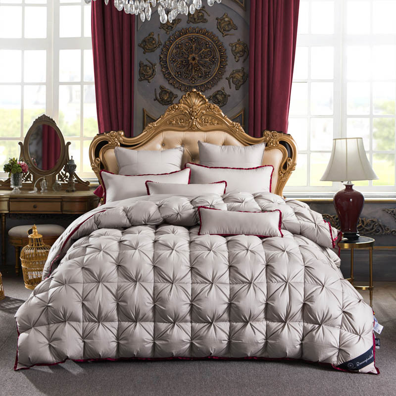 gray color twisted flower goose down comforter king queen full twin size thick winter quilted. Black Bedroom Furniture Sets. Home Design Ideas