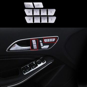 10pcs Chrome plate ABS Seat Adjust Memory Buttons Cover Trim For Mercedes-Benz A B Class 12-16 & CLA GLA Class 13-16