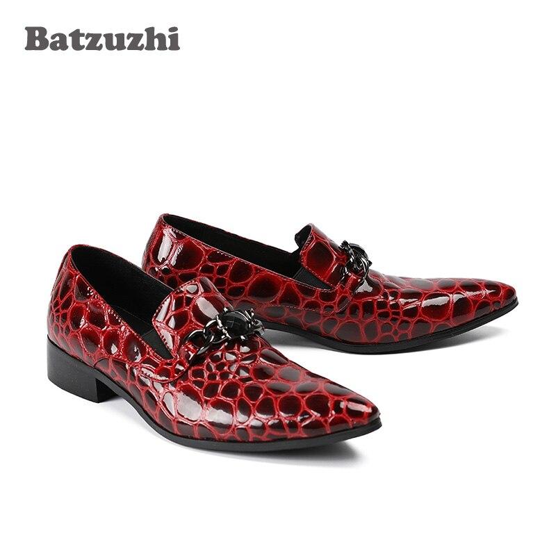 Red E Tinto De Novos Os Homens Genuíno Do Toe 2018 Vinho Poined Partido Hombre Zapatos Casamento Wine Formal Sapatos Couro Luxo Para fwv1gxnaq