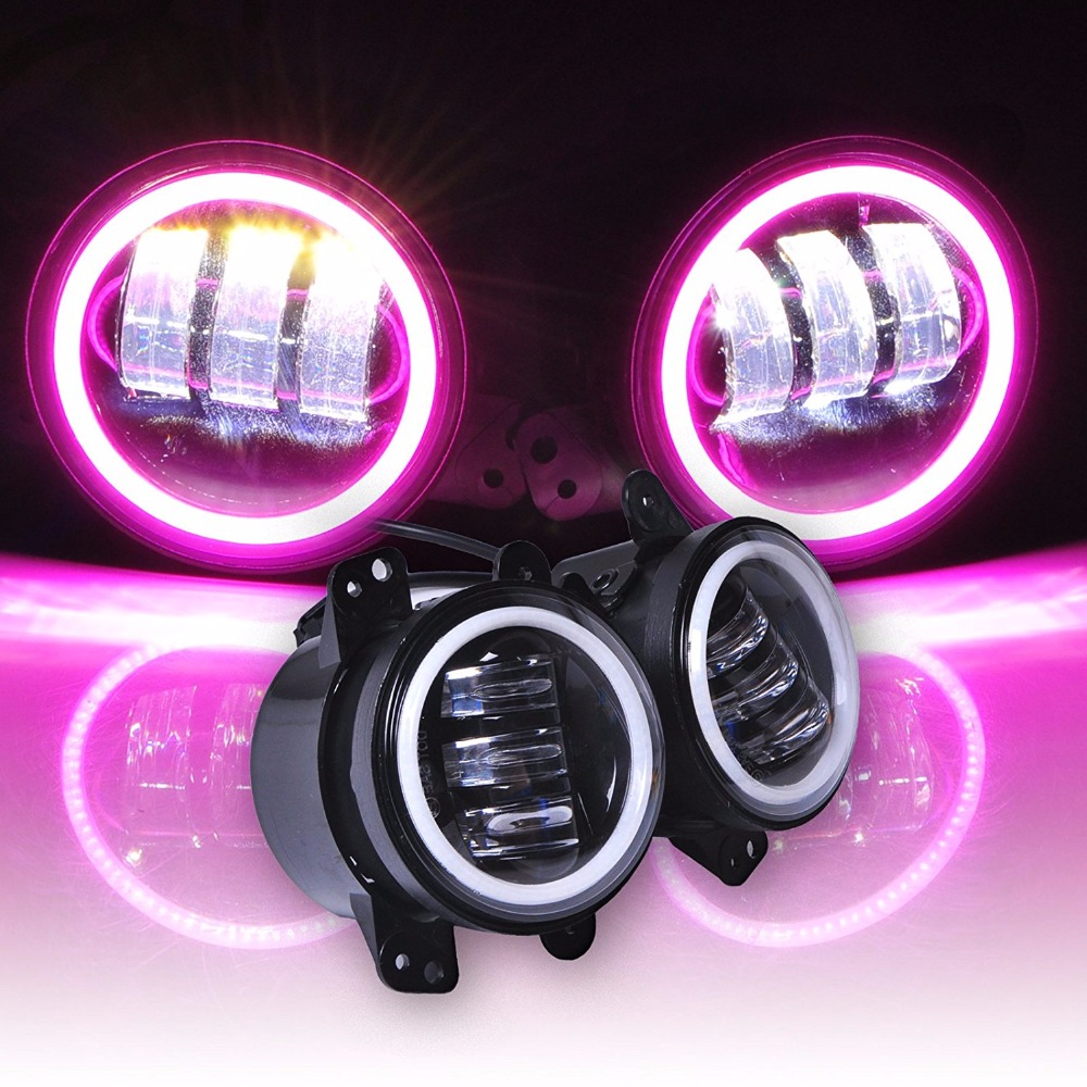 4 Inch 30W Led Fog Lights White Red Blue Green Amber Pink Halo Ring DRL for