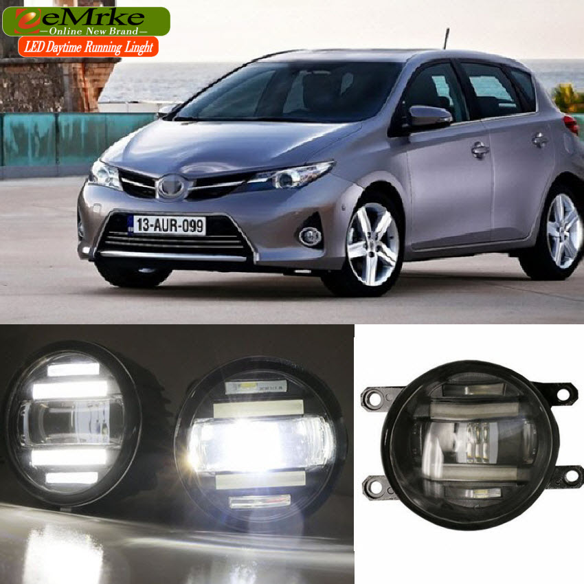 eeMrke Xenon White High Power 2in1 LED DRL Projector Fog Lamp With Lens For Toyota Auris E150 E180 2009-2016
