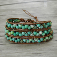 Green Beads Wrap Bracelet Leather Wrap Bacelet Leather Stack Bracelet BOHO Jewelry Yoga Jewelry Boho Jewelry