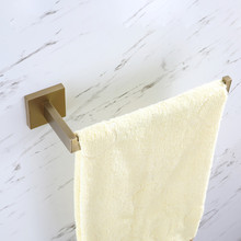 European Towel Ring Stainless Steel Wall Mounted Square Shaped Holder Brushed Gold Bar Bathroom Accessories