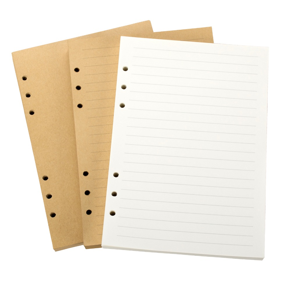 A5 Lined Loose Leaf Paper Refills 6-Ring Refillable Paper 100 Sheet