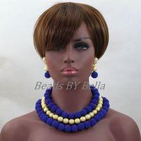Günstige Mode Frauen Hochzeit Geschenk Royal Blue Balls Nigerianische Halskette Dubai Kostüm Spitze Schmuck Sets Kostenloser Versand ABL143