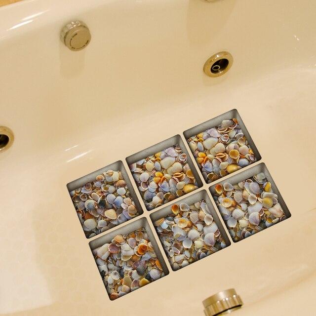 6 pz/set 13*13 cm Impermeabile Sticker Da Bagno Merci 3D Autoadesivi Della Paret