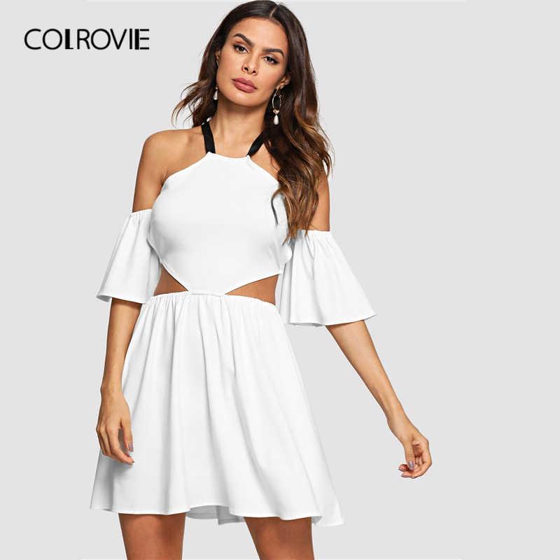 COLROVIE/белая однотонная блузка на бретелях с вырезом и шнуровкой сзади, сексуальное женское платье 2019, весенний рукав-волан, Клубные женские Мини-сексуальные платья-комбинация
