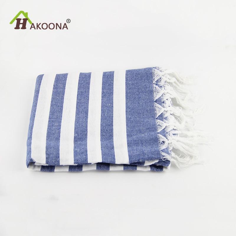 hakoona turkish bath towels cotton fabric tassel big beach towel 100x180cm summer adults stripes blue white