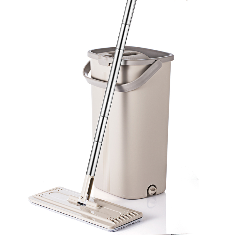 Squeeze Hand Free Flat Mop Bucket With Stainless Steel Handle Wet Dry Floor Cleaning 360 rotatable