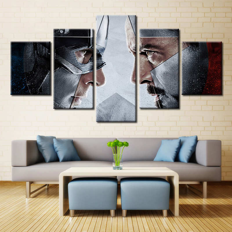Forbeauty 5 Piece Canvas Painting Art Picture Movie Poster <font><b>Captain</b></font> <font><b>America</b></font>: <font><b>Civil</b></font> <font><b>War</b></font> 3D <font><b>Blu-ray</b></font>: Collector's Edition