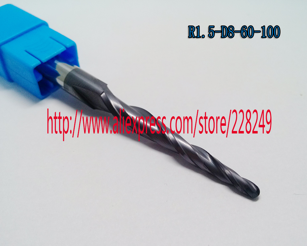 1pc R1.5*D8*60*100L*2F HRC55 Tungsten solid carbide Coated Tapered Ball Nose End Mills CNC milling cutters 1pc r1 0 d8 60 100l 2f hrc55 tungsten solid carbide coated tapered ball nose end mills cone milling cutter wood knife tools