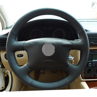 Hand Stitched Black Leather Steering Wheel Cover For Volkswagen Passat B5 VW Passat B5 VW Golf