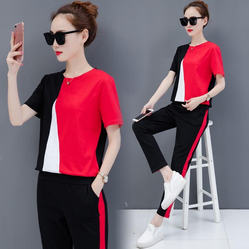 7c781831c58 Summer casual clothing set women print suit new design two pcs outfit  leisure Korean fashion loose