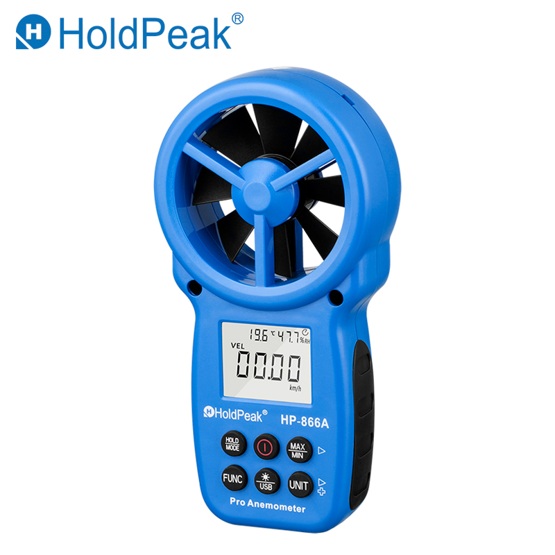 HoldPeak HP-866A Professional Anemometer USB Wind Speed Meter Wind Flow Logger Air Speed Tester Temperature/Humidity Measure digital wind speed air volume meter holdpeak hp 856a anemometer usb handheld with data logger temperature range data record