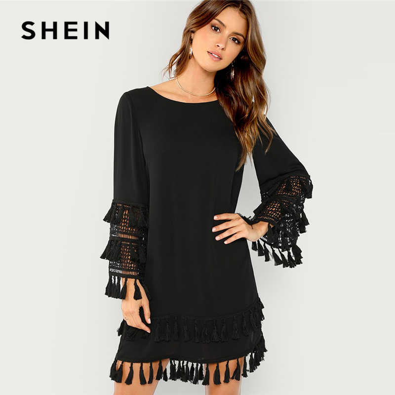 115185df719 Шеин черный кисточками одноцветное платье элегантный бахромой вырезать  прямые короткие платья Для женщин осень сдвиг Туника