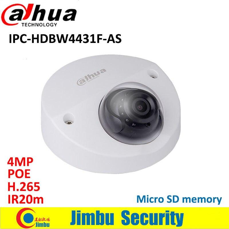 Dahua IPC-HDBW4431F-AS 4MP IP camera IR20m Mini Dome H.265 POE mini Camera IP67 IK10 Micro SD memory CCTV camera smart detection wholesale dahua dh ipc hdbw4233r as 2mp ir mini dome network ip camera ir poe audio sd card stellar h265 h264 ipc hdbw4233r as
