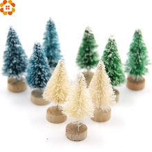 New!15PCS DIY Christmas Tree 3Colors Small Pine Tree Mini Trees Placed In The Desktop Home Decor Christmas Decoration Kids Gifts(China)