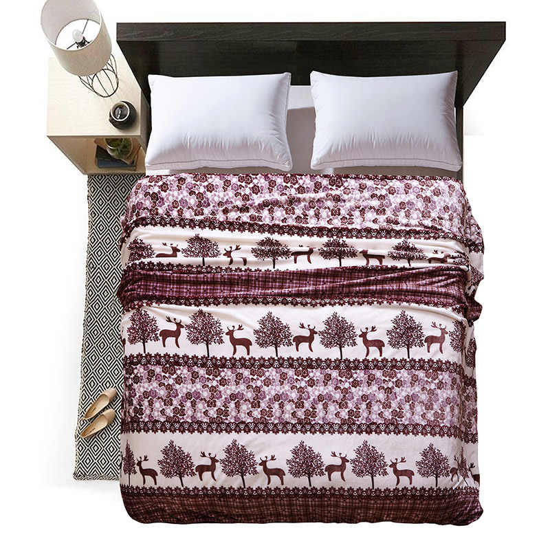 New Throw Blankets Coffee Fawn Forests Blankets High Quality Coral Flannel Blankets on Bed Car Bedsheet SizeTwin Full Queen King