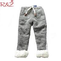 R & Z Bebek Kız Pantolon 2017 Kış Kalınlaşmak Çizgili Sweatpants Düz Renk Pamuk Manşetleri Pantolon Çocuklar çocuk için giyim