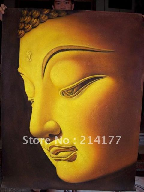 Free shipping 100% handpainted buddha face canvas painting modern ...