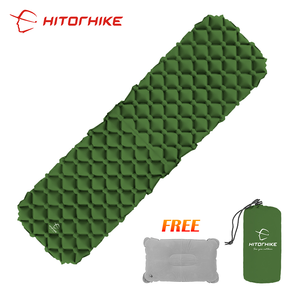 Hitorhike innovante de couchage pad rapide de remplissage air sac super léger gonflable matelas avec oreiller vie sauvetage 550g coussin