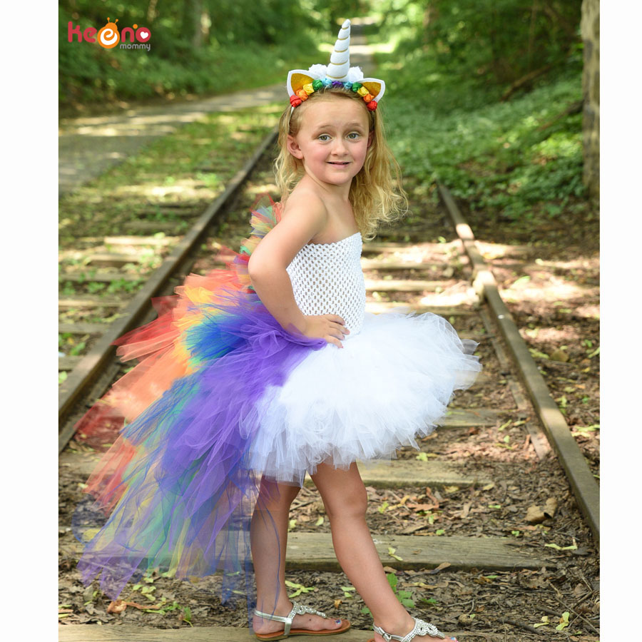 Bright Rainbow Unicorn Bustle Tutu Dress Girls Pony Dress with Colorful Mane Children Birthday Halloween Costume Holiday Dress