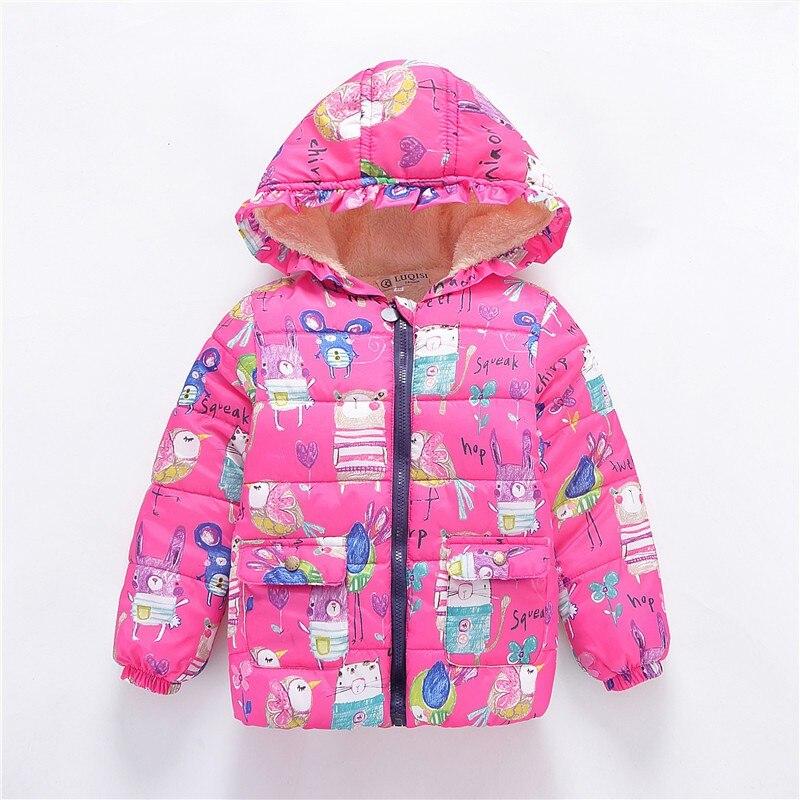 Зимнее теплое пальто с капюшоном и цветочным принтом для маленьких мальчиков и девочек 2-7 лет верхняя одежда ll4