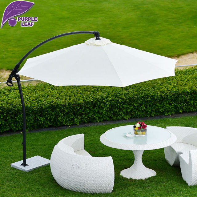 Purple Leaf Patio Umbrella Offset 9.85u0027 Hanging Outdoor Market Beach  Parasol Round/Square Aluminium