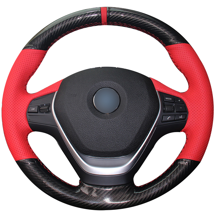 Carbon Fiber Leather Red Leather Red Marker Car Steering Wheel Cover for BMW F30 320i 328i