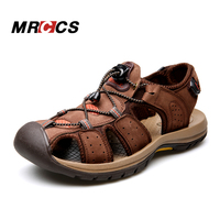 MRCCS Genuine Leather Men's Sandal,Summer Cool Hill/Beach/Water Shoes,Breathable Hollow Toe Protect Design Coffee/Khaki