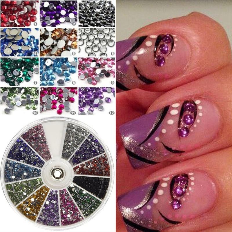 Hot Sale 2400 Piece 12 Color Rhinestones Wheels Stickers Nail Art ...