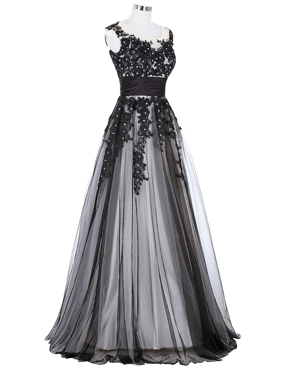 Grace Karin Long Prom Dress 2018 Elegant Black Appliques Sleeveless Soft Tulle Satin Real Picture Robes De Soiree Prom Dresses 7