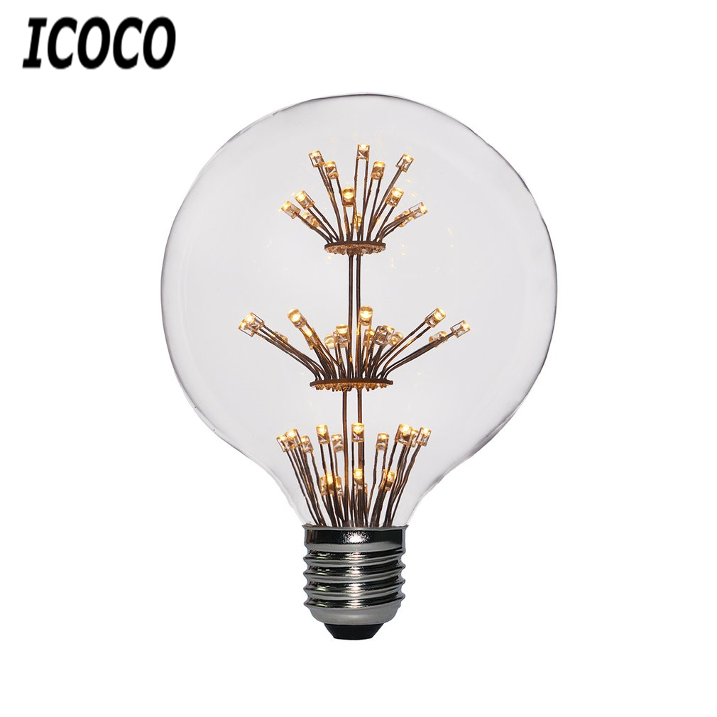 ICOCO 1PCS G95 E27 Dimmable Round LED Light Bulb 220V 3W With 47 LEDs & Special 3-Layed Babysbreath Flower Shape Inside Sale