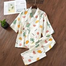 Пижамы для женщин, кимоно, хлопковые пижамы для женщин, японская ночная рубашка, домашняя одежда с v-образным вырезом, длинные штаны, пижама для женщин