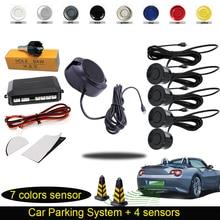 Auto Electromagnetic Parktronic for car Parking Sensor 4 Sensors System Reversing Radar Sensor Car-Detector 7 Sliver Black Color