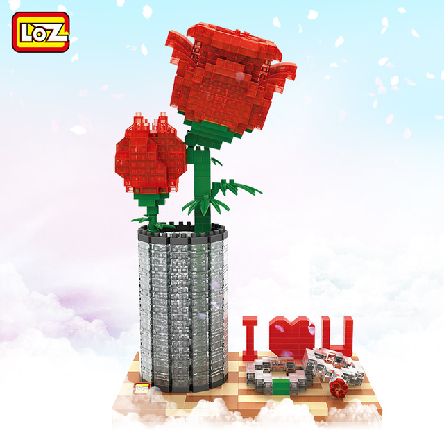 LOZ Mini Building Blocks Rose Assemble DIY Model Valentine Day Gift for Girl Friend Lover Valentine's