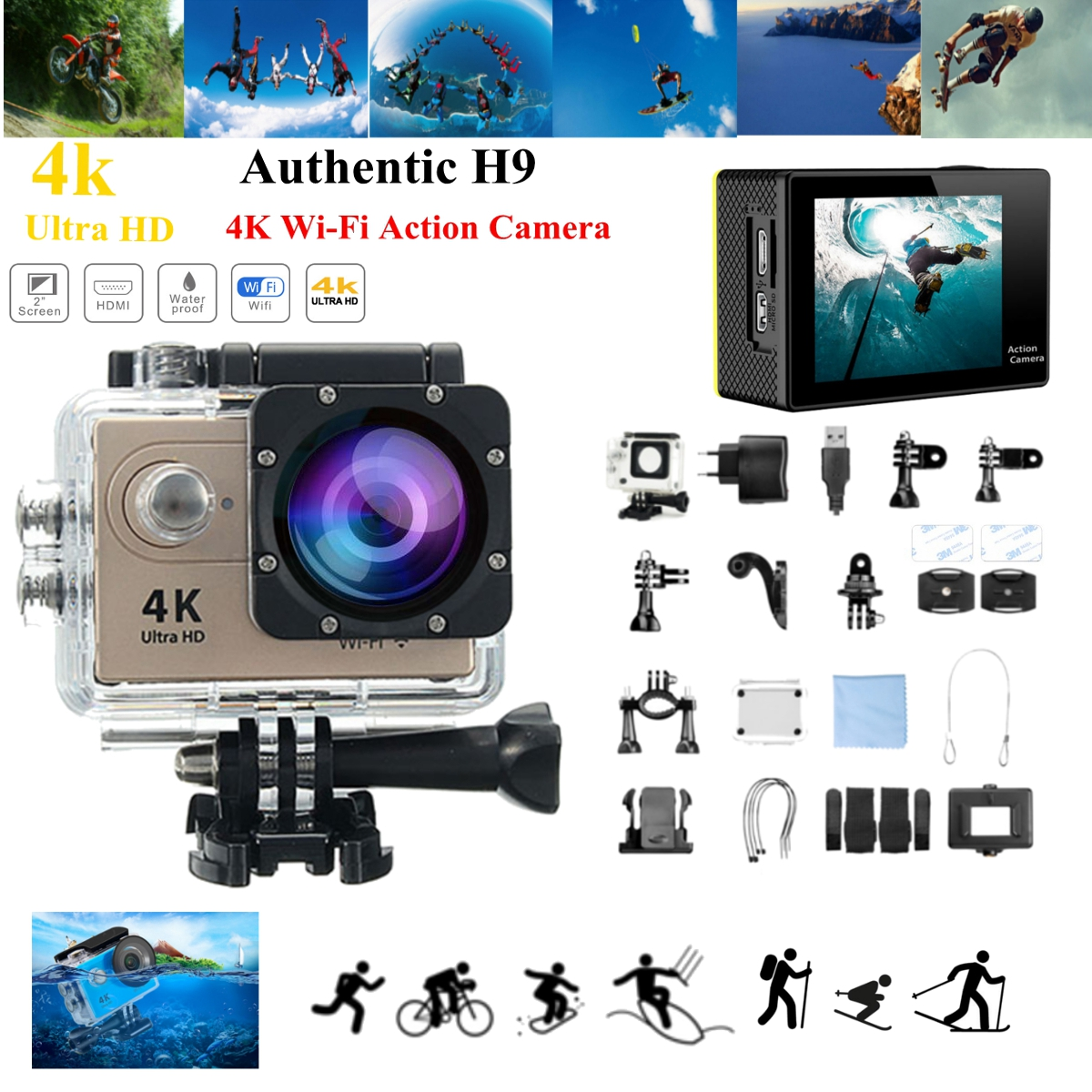H9R / H9 SE Ultra 4K HD 1080P WIFI 60FPS Action Sport Camera 170 degree Wide Camcorder 2017 arrival original eken action camera h9 h9r 4k sport camera with remote hd wifi 1080p 30fps go waterproof pro actoin cam