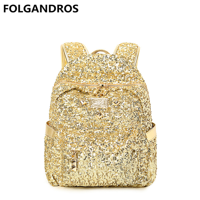 acb0d7abcb 2018 Brand Gold Backpack Women s Leather Backpacks for Teenager Girls  Casual Fashion Women Bookbag Ladies Bolsa